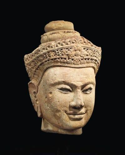 tete de bouddha tete de bouddha shakyamuni en gres cambodge post khmer xiveme xveme siecle christie s