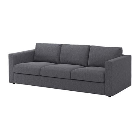 vimle 3 seat sofa gunnared medium grey ikea
