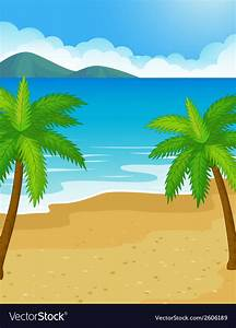 Cartoon Beach background with coconut tree Vector Image