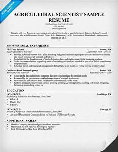 Resume Objective For Internship Agricultural Scientist Resume Resumecompanion Com