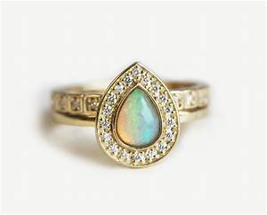 opal wedding ring set halo opal ring halo diamond set With opal wedding rings