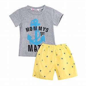 kids baby boys casual anchor letters clothes sets t shirt With the letter clothing