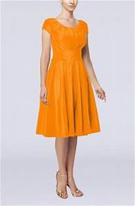 orange simple a line scoop short sleeve taffeta knee With orange wedding guest dress
