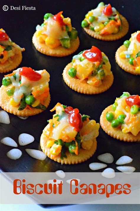 canape biscuit biscuit canapes with vegetable topping