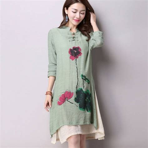 spring casual long sleeve cotton linen simple dress