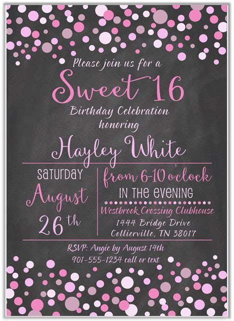 bridal shower invite 16 birthday invitations