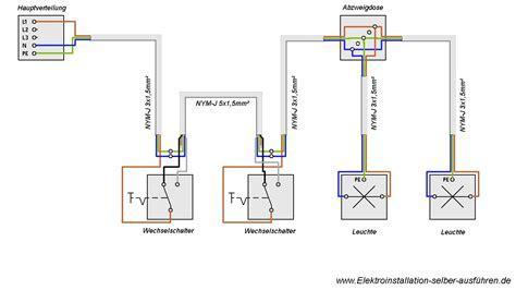 Schaltplan einer Wechselschaltung mit zwei Lampen