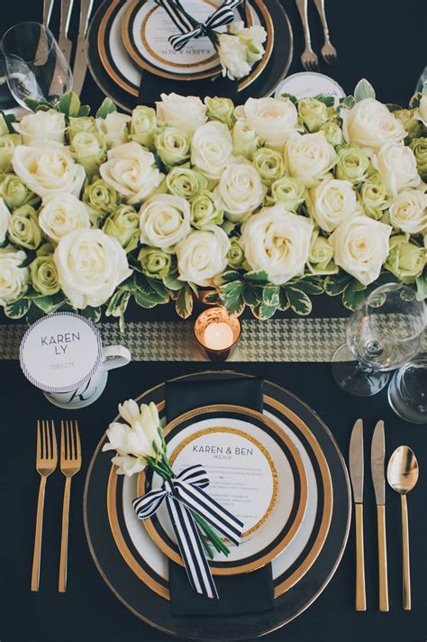 black and white dinner table setting wedding colors white ivory gold sage green emerald