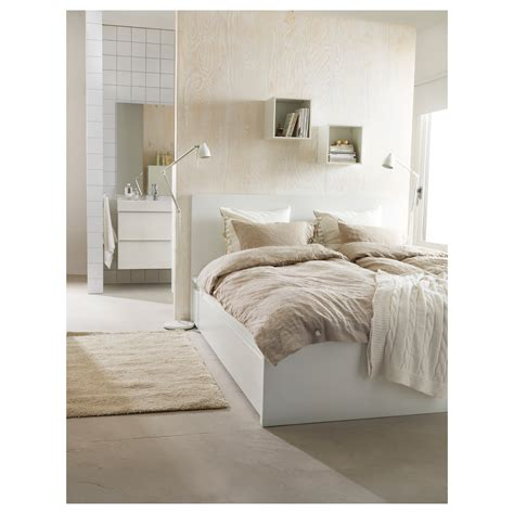 malm bed frame with 4 storage boxes white leirsund