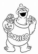 Monster Coloring Cookie Halloween Elmo Printable Sheets Getcolorings sketch template