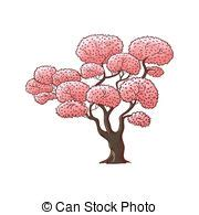 Small isolated sakura tree twig with realistic flowers