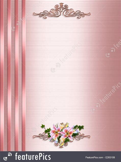 wedding invitation border pink satin illustration