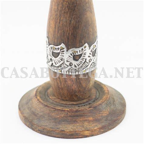 candele color porta candela in legno con inserti in argento