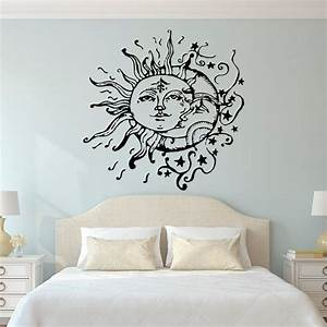 Sun moon stars wall decals for bedroom and