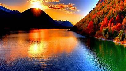 Sunset Mountain Lake Desktop Nature Wallpapers Backgrounds