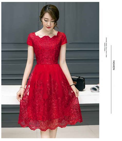 dress brokat renda warna merah  myrosefashioncom