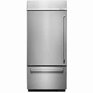 Kitchenaid kbbl306ess 36quot stainless built in refrigerator for Kitchenaid built in refrigerators