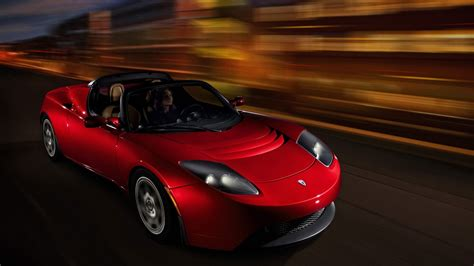 Tesla Roadster electric sports car on the road wallpapers ...