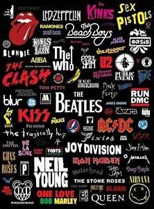 Affiche avec des noms de groupes de rock