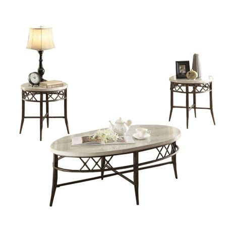 Monroe 3 pcs coffee table set for. Benjara 3-Piece 48 in. Brown/White Large Oval Faux Marble Coffee Table Set-BM163517 - The Home Depot