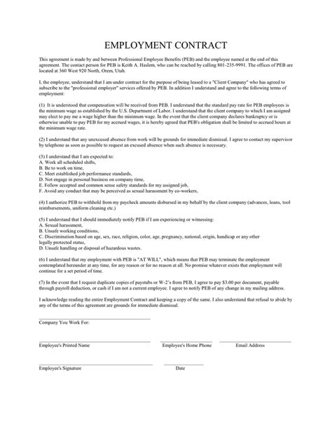 EMPLOYMENT CONTRACT in Word and Pdf formats