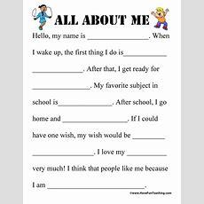 All About Me Worksheet  Have Fun Teaching