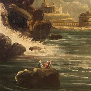 19th Century French Painting Depicting Seascape Oil On ...
