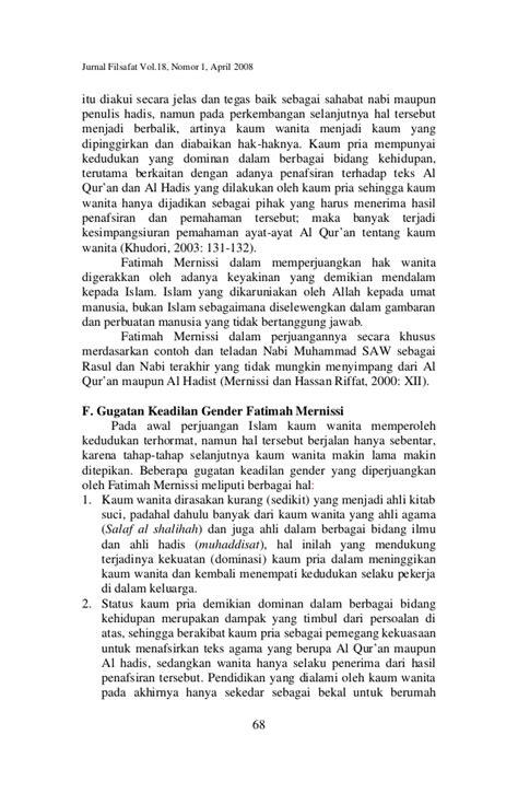 GERAKAN FEMINISME ISLAM DALAM PERSPEKTIF FATIMAH MERNISSI