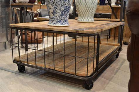 table de salon vintage table basse de salon industrielle avec roulettes
