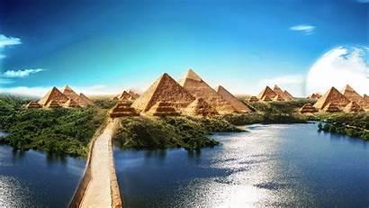 Egyptian Pyramids Nature Pyramid Sky 4k Reflection