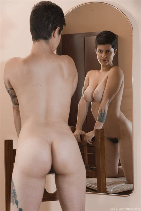Sue Poses Naked And Strips In Front Of A Mirror
