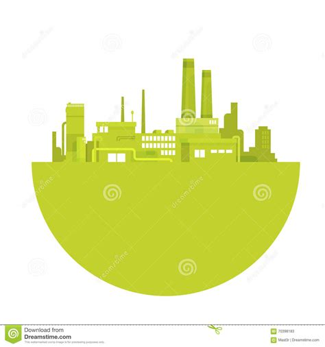 green silhouette eco city flat vector stock vector image silhouette green plant world environment day factory logo Beautiful