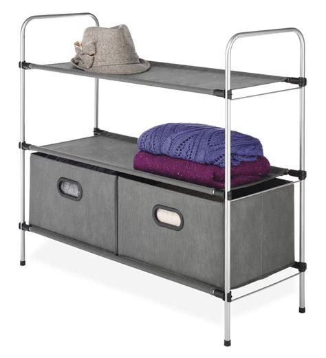 whitmor mini closet organizer 3 tier shelves and drawers
