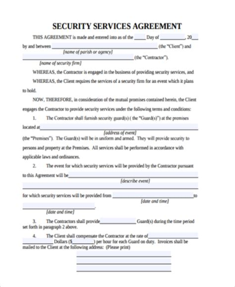 security company contract template security agreement form sles 9 free documents in word pdf