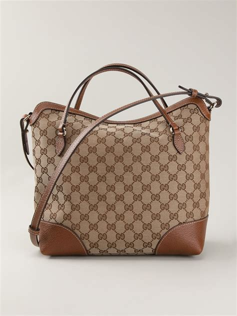 gucci signature monogram tote  brown lyst
