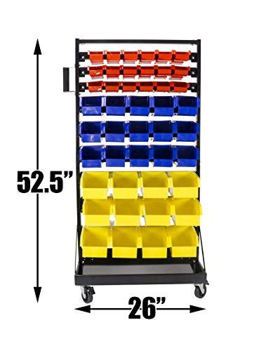 90 Bin Organizer with Tray and Casters. 36 small red bins