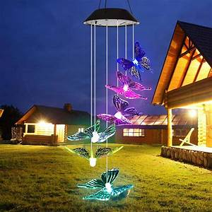 Solar, Wind, Chimes, Outdoor, Waterproof, Solar, Butterfly, Wind, Chimes, Color, Changing, Led, Solar