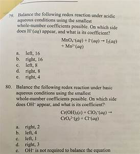 Solved  Balance The Following Redox Reaction Under Acidic