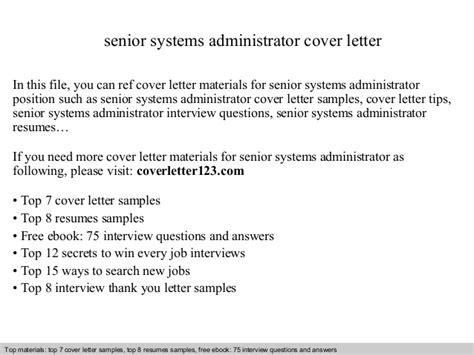 sample cover letter system administrator senior systems administrator cover letter