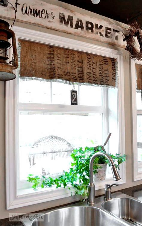 burlap coffee bean sack window shades funky