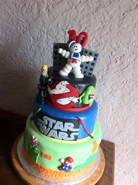 80s Themed Cake Including Ghostbusters Star Wars Super