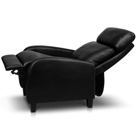 faux leather adjustable armchair recliner in black buy