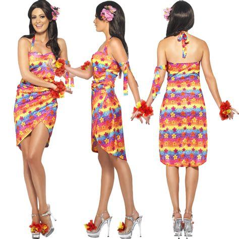 Ladies Hawaiian Fancy Dress Costume Mens Hula Summer Beach Party Outfit Luau | eBay