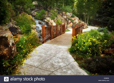 gardens at vail pathway and bridge in betty ford alpine gardens vail