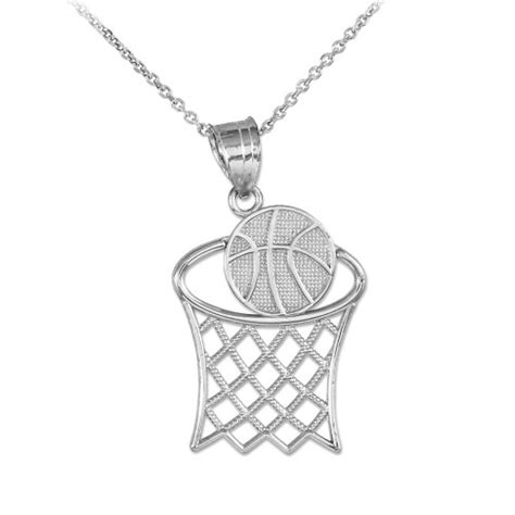 basketball hoop charm pendant necklace  sterling silver