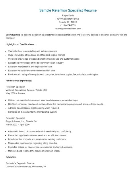 Higher Education Cover Letter Sle by Sle Retention Specialist Resume Resame