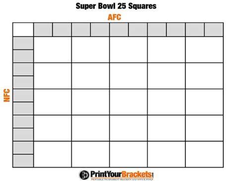Printable Super Bowl Squares 25 Grid Office Pool It's