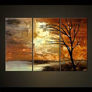 Painting - abstract landscape painting triptych tree #4466