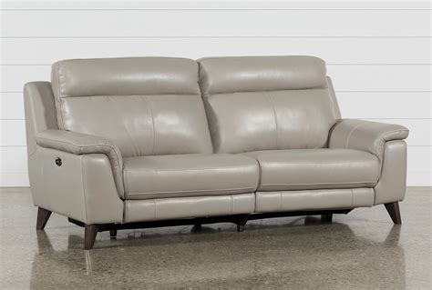 reclining settee moana taupe leather dual power reclining sofa with usb