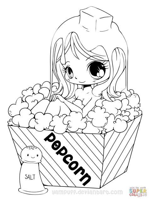 chibi popcorn girl coloring page  printable coloring